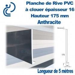 PLANCHE DE RIVE A CLOUER PVC ANTHRACITE en L Ep16 H175 longueur de 5ml