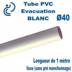 Tube PVC Rigide BLANC Ø40 Coupé à 1 mètre lisse