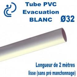 Tube PVC Rigide BLANC Ø32 Coupé à 2 mètres lisse