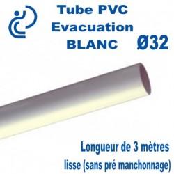Tube PVC Rigide BLANC Ø32 longueur de 3 mètres lisse