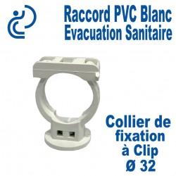Collier de Fixation Blanc à Clip PVC D32