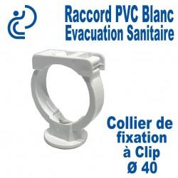 Collier de Fixation PVC Blanc à Clip Ø40