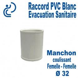 Manchon Coulissant PVC Blanc Ø32 Femelle-Femelle