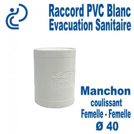 Manchon Coulissant PVC Blanc Ø40 Femelle-Femelle