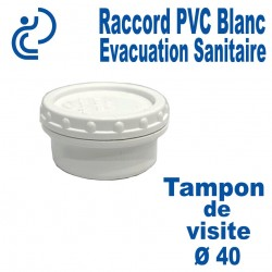 Bouchon / Tampon de visite PVC Blanc Ø40