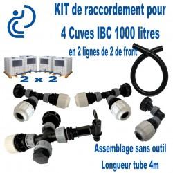KIT de Jumelage prêt à monter pour 4 cuves 1000 litres IBC positionnées en U 2x2 de front