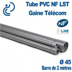 Tube PVC NF LST Ø45 Gaine Télécom longueur 2 mètres