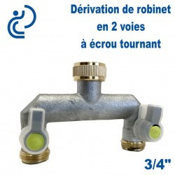 """Dérivation de robinet laiton en 2 voies 3/4"""" écrou tournant"""