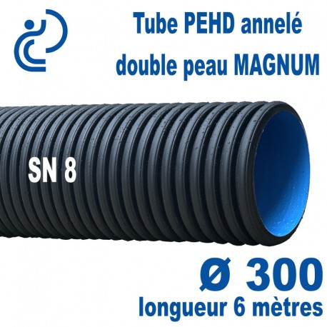Tube annelé Double Paroi PEHD Ø300 barre de 6ml MAGNUM