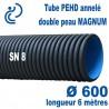 Tube annelé Double Paroi PEHD Ø600 barre de 6ml MAGNUM