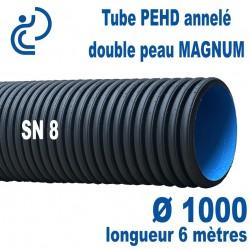 Tube annelé Double Paroi PEHD Ø1000 barre de 6ml MAGNUM