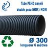 Tube annelé PEHD Série ECO (noir/noir) Ø300 barre de 6ml
