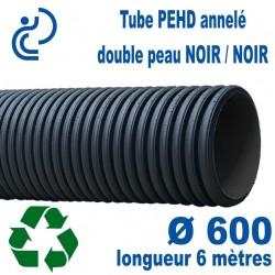 Tube annelé PEHD Série ECO (noir/noir) Ø600 barre de 6ml