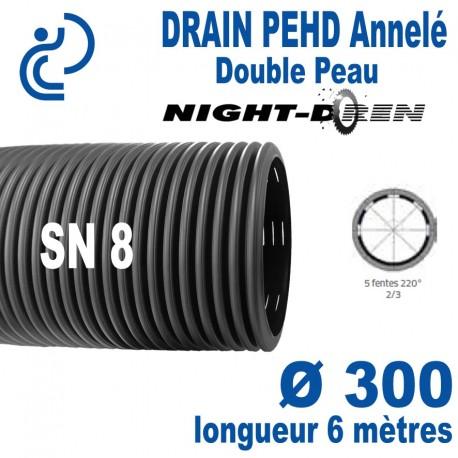 Tube DRAINAGE PEHD Annelé Double Paroi Ø300 barre de 6ml NIGHT DREN