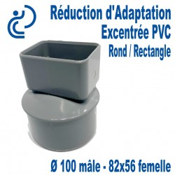 Réduction d'Adaptation Excentrée PVC Gris Ø100-82X56 (Rond M/Rectangle F)