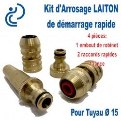 Kit d'arrosage de Démarrage LAITON Ø15 4 pièces (embout/2raccords/lance)