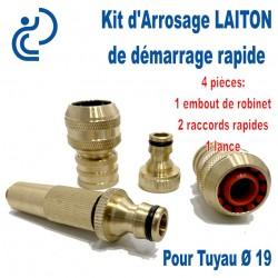Kit d'arrosage de Démarrage LAITON Ø19 4 pièces (embout/2raccords/lance)