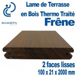 Lame de Terrasse en FRENE Thermo Traité 100x21x2000mm 2 Faces lisses