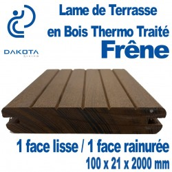 Lame de Terrasse en FRENE Thermo Traité 100x21x2000mm 1 Face lisse/1 Face Rainurée