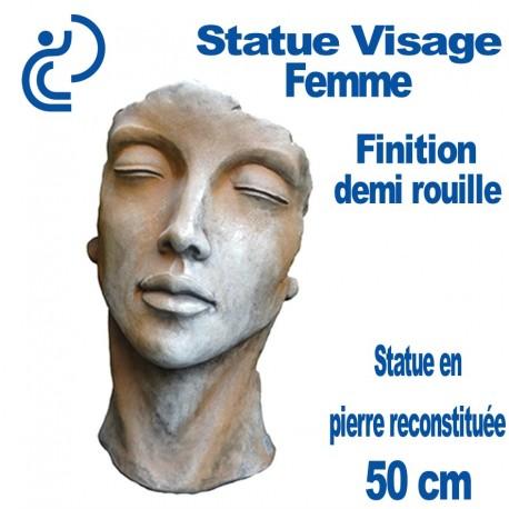 Statue Visage Femme Effet demi rouille en Pierre Reconstituée 50cm