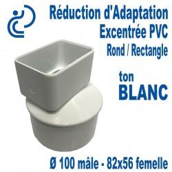 Réduction d'Adaptation Excentrée PVC BLANC Ø100-82X56 (Rond M/Rectangle F)