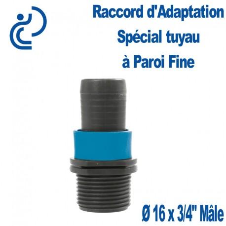 """Raccord d'adaptation Bague Bleue Ø16 x 3/4"""" Mâle NETAFIM spécial Tuyau Paroi Fine"""