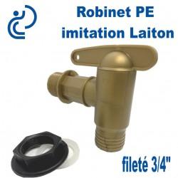 """Robinet PE imitation Laiton 3/4"""" pour cuve eau de pluie"""