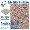 Dalle Béton Gravillonnée Roulée ROSE 400x400 ep 37 fond blanc