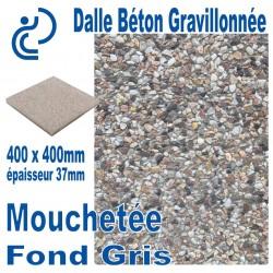 Dalle Béton Gravillonnée Mouchetée 400x400 ep 37 fond gris