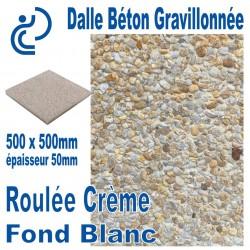 Dalle Béton Gravillonnée Roulée Crème 500x500 ep 50 fond blanc