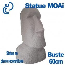 Statue Ornementale Buste MOAï en Pierre Reconstituée 60cm