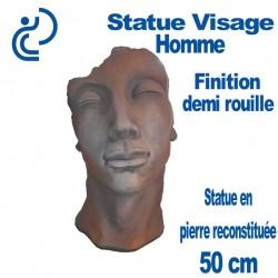 Statue Visage Homme Effet demi rouille en Pierre Reconstituée 50cm