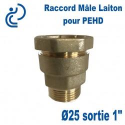 "Raccord Laiton Ø25 sortie Mâle 1"" Pour tube PEHD"