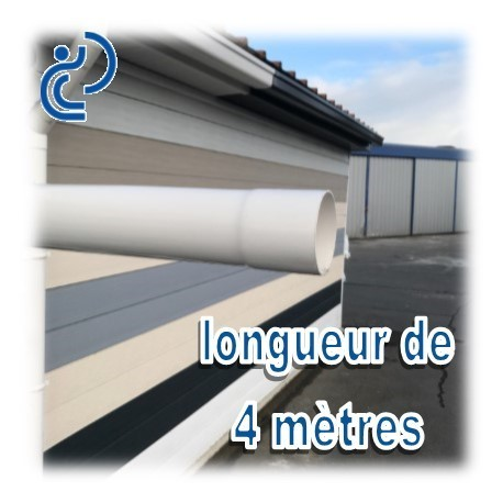 Tube descente de goutti re d100 blanc en longueur de 4ml for Tube pvc 100 diametre interieur