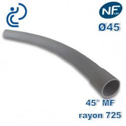 COURBE PVC NFLST 45° D45 R725 MF
