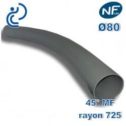 COURBE PVC NFLST 45° D80 R725 MF