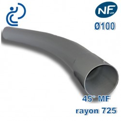 COURBE PVC NFLST 45° D100 R725 MF