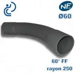 COURBE PVC NFLST 60° D60 R250 FF