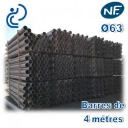 Tube PVC compact NF M1 D63 barres de 4ml