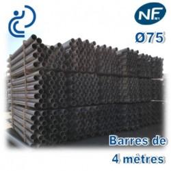 Tube PVC compact NF M1 D75 barres de 4ml