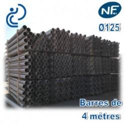 Tube PVC compact NF M1 D125 barres de 4ml