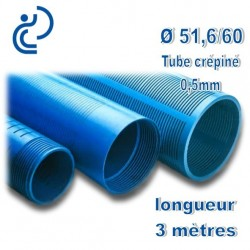 Tube Forage PVC 51.6/60 crépiné 0.5 A visser longueur 3ml