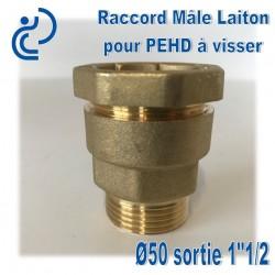"Raccord Mâle Laiton D50 sortie 1""1/2 Pour tube PEHD"