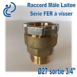 """Raccord Mâle Laiton D27 sortie 3/4"""" Série FER"""