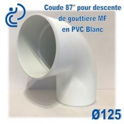 COUDE 87 ° GOUTTIERE PVC BLANC d125