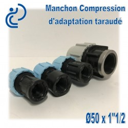 "Manchon Compression d'adaptation D50 taraudé 1""1/2"