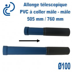 Allonge télescopique D100 Mâle-Mâle 505/760mm à coller