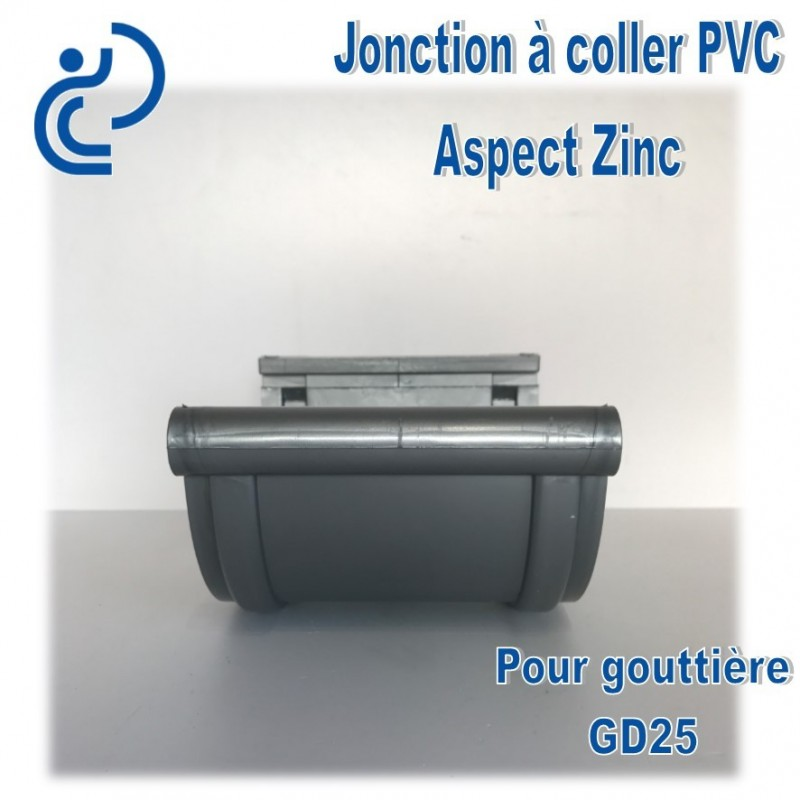 jonction pvc coller aspect zinc pour goutti re gd25. Black Bedroom Furniture Sets. Home Design Ideas
