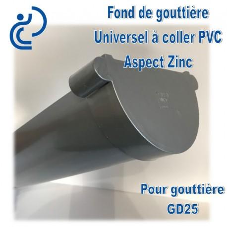 Goutti/ère PVC 25 demi-ronde zinc Fond de naissance goutti/ères PVC 25