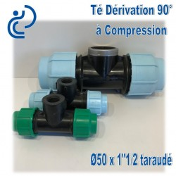 "TE dérivation 90° à Compression fileté D50x1""1/2 taraudé (femelle)"